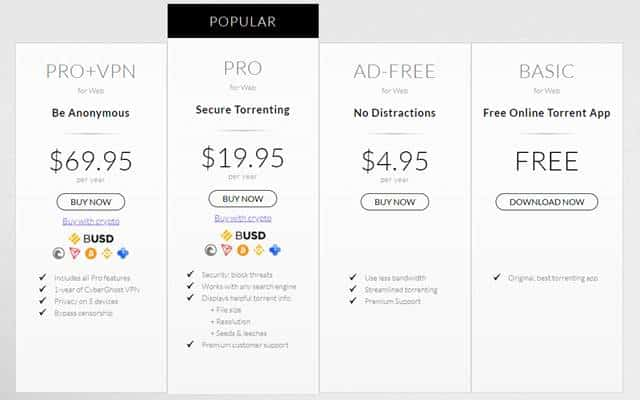 BitTorrent Pro and Free Version